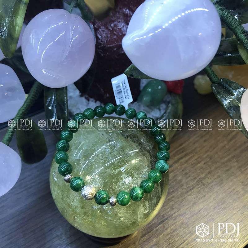 Vòng đá cẩm thạch 6 ly charm bi kim tiền PDJ