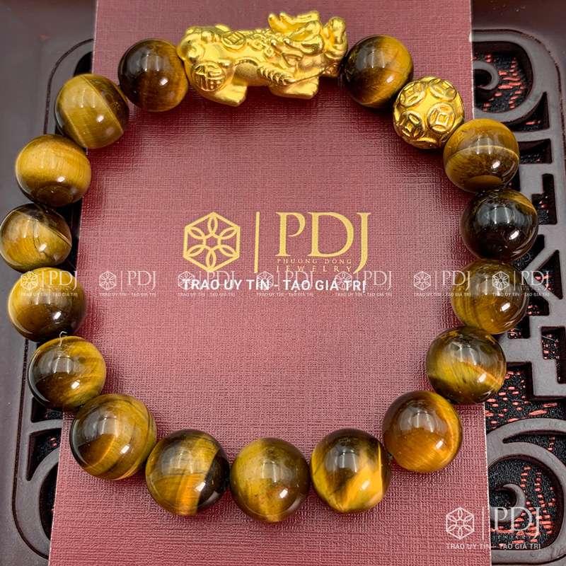 Vòng Đá Mắt Hổ Vàng Nâu Charm Tỳ Hưu Bi Kim Tiền Bạc Si Vàng PDJ