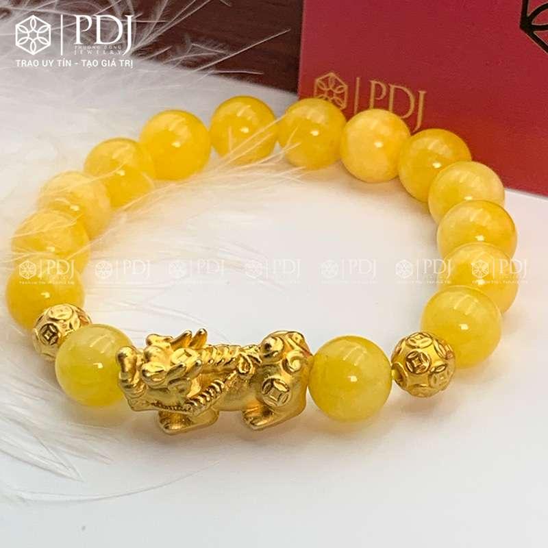 Vòng Đá Thạch Anh Vàng Vân 10 Ly Charm Tỳ Hưu Bạc Si PDJ
