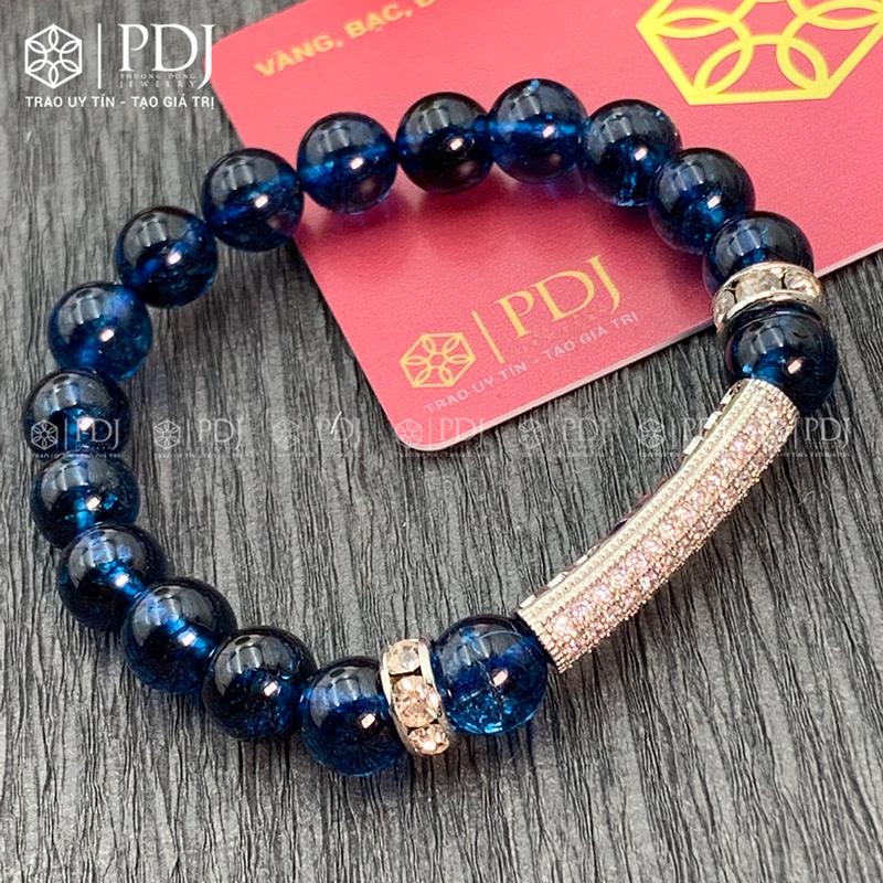 Vòng đá thạch anh xanh biển 8 ly charm trụ đá bạc PDJ