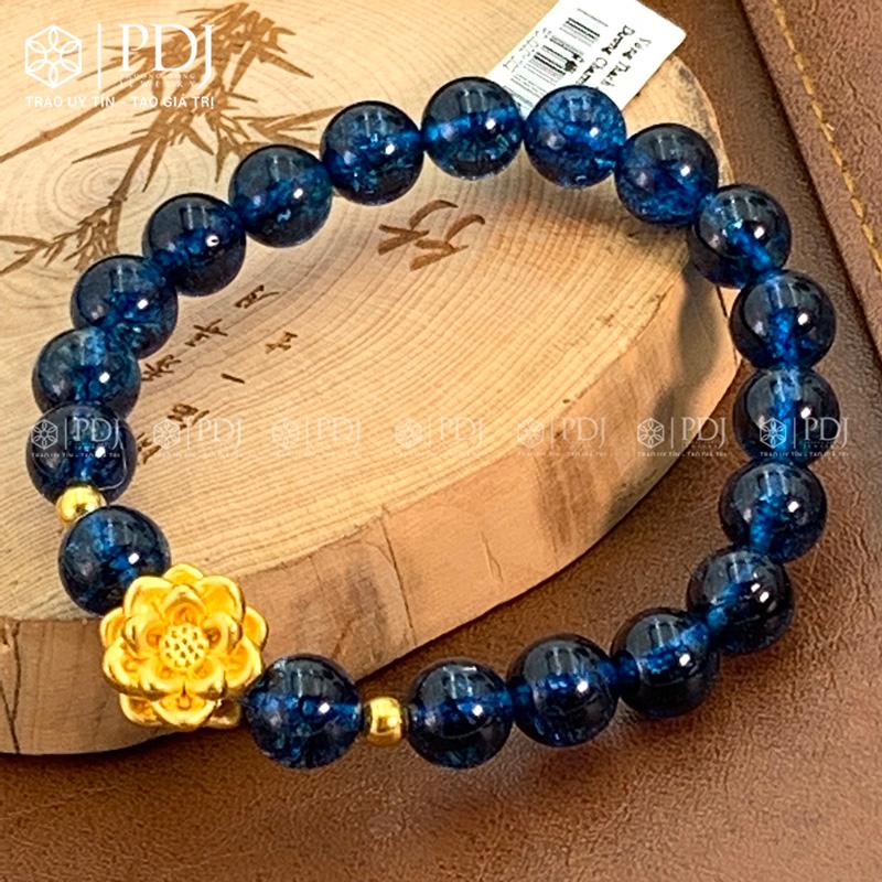 Vòng đá thạch anh xanh biển charm hoa sen 24k PDJ