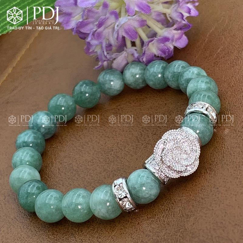 Vòng đá thạch anh xanh ngọc 8 ly charm hoa đá bạc PDJ