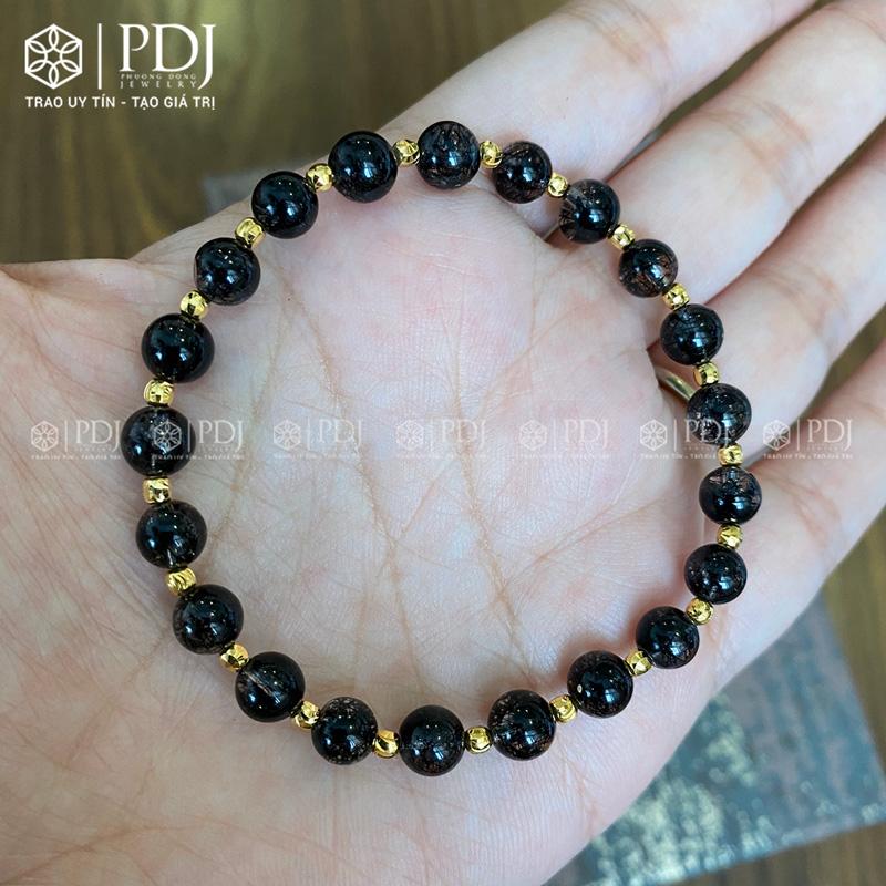 Vòng đá thạch anh tóc đen 6 ly vàng 10k PDJ
